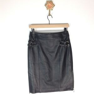 DANIER black leather skirt with buckles